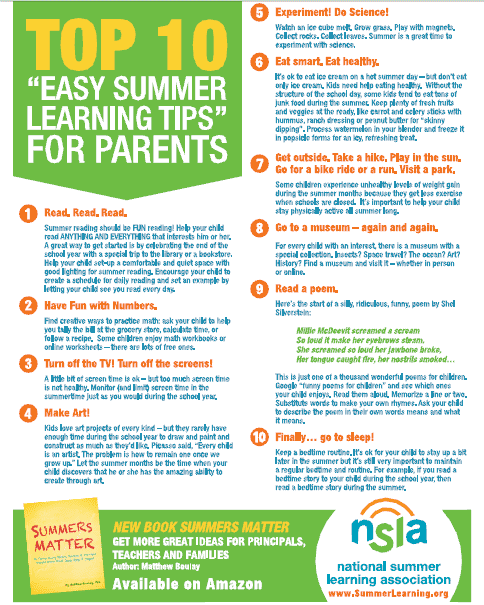 summer learning tips for parents
